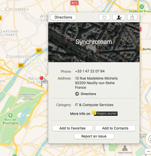 Apple Maps finds Synchroteam Paris